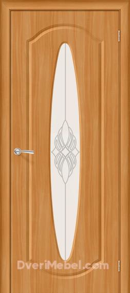 Межкомнатная дверь с ПВХ-пленкой Орбита Плюс со стеклом, миланский орех