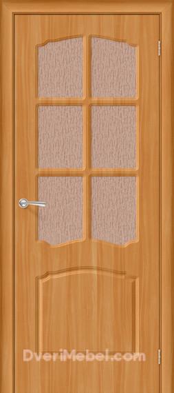 Межкомнатная дверь с ПВХ-пленкой Альфа со стеклом, итальянский орех