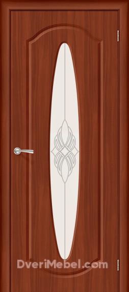 Межкомнатная дверь с ПВХ-пленкой Орбита Плюс со стеклом, итальянский орех