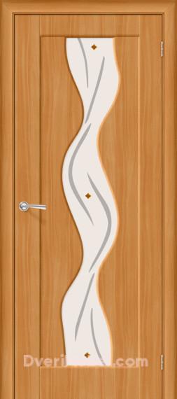 Межкомнатная дверь с ПВХ-пленкой Вираж Плюс со стеклом, миланский орех