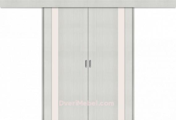 Межкомнатная двойная дверь-купе Порта-11 Bianco Veralinga
