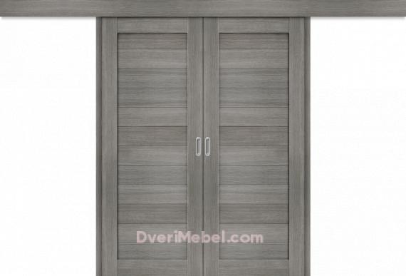 Межкомнатная двойная дверь-купе Порта-21 Grey Veralinga