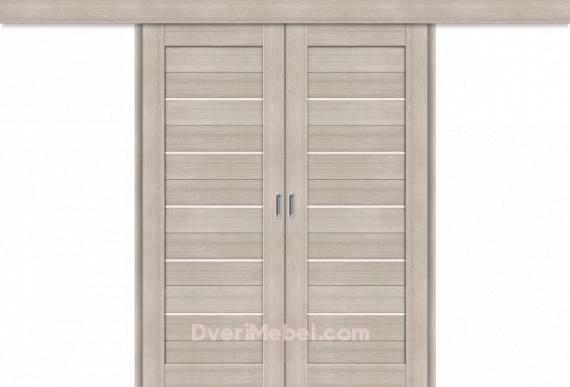 Межкомнатная двойная дверь-купе Порта-22 Cappuccino Veralinga