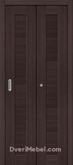 Межкомнатная складная дверь с экошпоном Порта-21 Wenge Veralinga