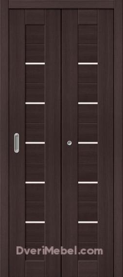 Межкомнатная складная дверь с экошпоном Порта-22 Wenge Veralinga