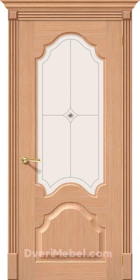 Межкомнатная шпонированная остекленная дверь Афина Дуб