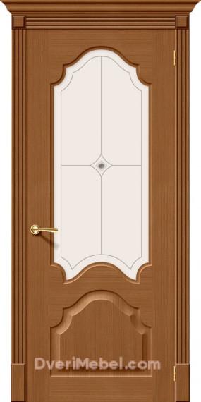 Межкомнатная шпонированная остекленная дверь Афина Орех