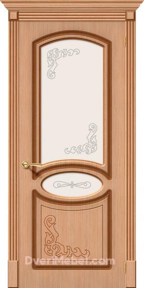 Межкомнатная шпонированная остекленная дверь Азалия Дуб