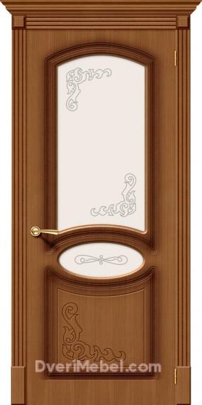 Межкомнатная шпонированная остекленная дверь Азалия Орех