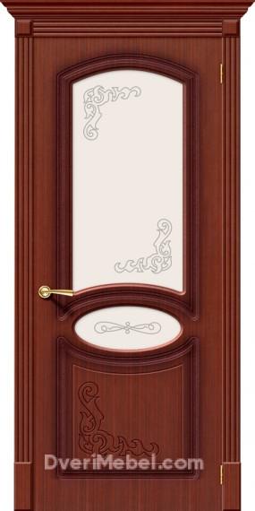 Межкомнатная шпонированная остекленная дверь Азалия Макоре