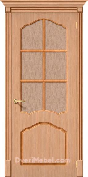 Межкомнатная шпонированная остекленная дверь Каролина Дуб