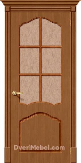 Межкомнатная шпонированная остекленная дверь Каролина Орех