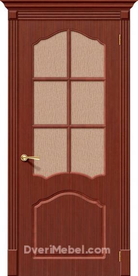 Межкомнатная шпонированная остекленная дверь Каролина Макоре