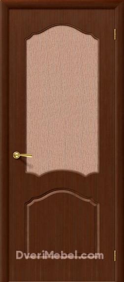 Межкомнатная шпонированная остекленная дверь Каролина Шоколад