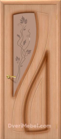 Межкомнатная шпонированная остекленная дверь Лагуна Дуб