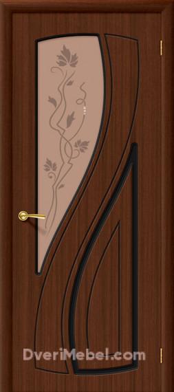 Межкомнатная шпонированная остекленная дверь Лагуна Шоколад