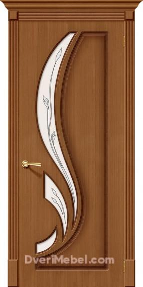 Межкомнатная шпонированная остекленная дверь Лилия Орех