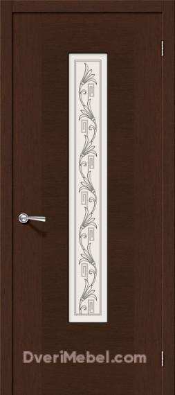 Межкомнатная шпонированная остекленная дверь Рондо Венге