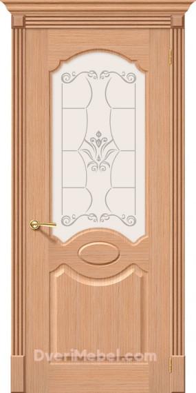 Межкомнатная шпонированная остекленная дверь Селена Дуб