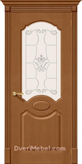 Межкомнатная шпонированная остекленная дверь Селена Орех