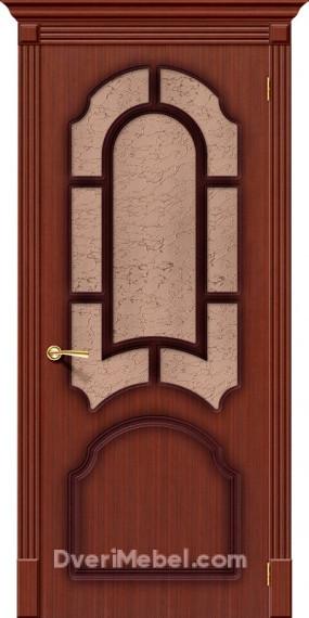 Межкомнатная шпонированная остекленная дверь Соната Макоре