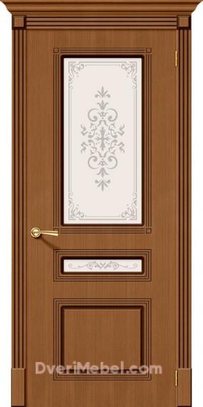 Межкомнатная шпонированная остекленная дверь Стиль Орех