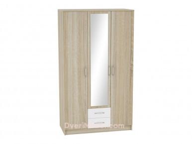 Шкаф 3-х створчатый Сопрано ШК-223 с зеркалом и 2-мя ящиками Белый глянец/Дуб Сонома
