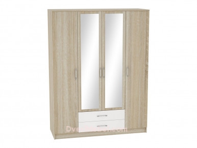 Шкаф 4-х створчатый Сопрано ШК-224 с зеркалами и 2-мя ящиками Белый глянец/Дуб Сонома