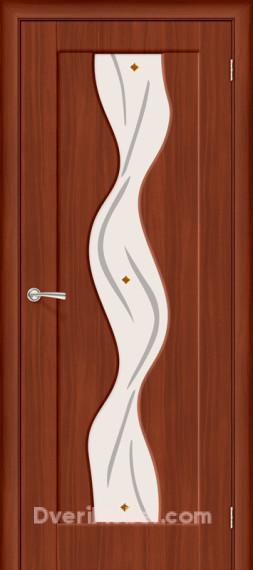 Межкомнатная дверь с ПВХ-пленкой Вираж Плюс со стеклом, итальянский орех