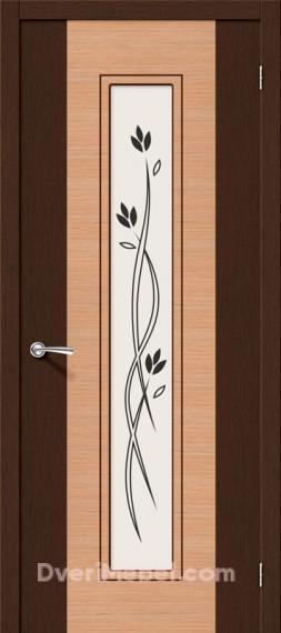 Межкомнатная шпонированная остекленная дверь Этюд Дуб/Венге