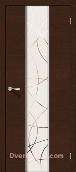 Межкомнатная шпонированная остекленная дверь Карат Венге