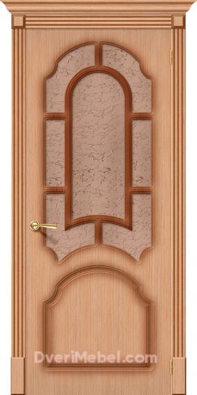 Межкомнатная шпонированная остекленная дверь Соната Дуб