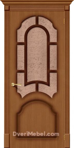 Межкомнатная шпонированная остекленная дверь Соната Орех
